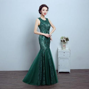 Green Lace Mermaid Gown, Size (XS-30 to L-36), G78,