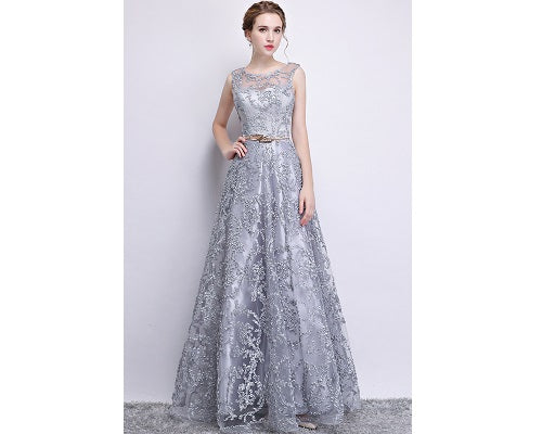 Silver Long Lace Elegant Evening Dress, Size (XS-30 to L-38)