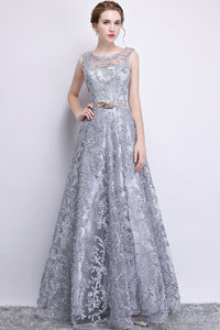 Silver Long Lace Elegant Evening Dress, Size (XS-30 to L-38), G81,