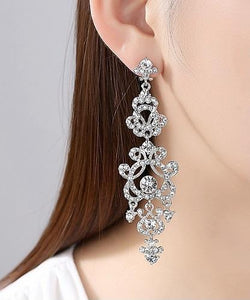 Floral Silver Long Earrings,
