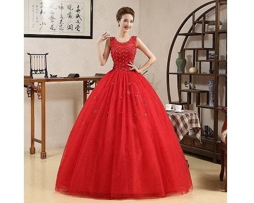 G143, Red Ball Gown, Size (XS-30 to XL-40)