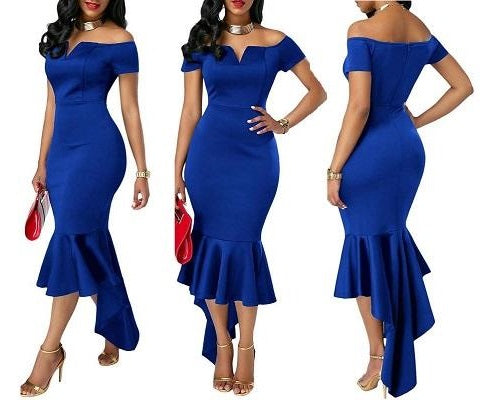 Blue Fish Trail Gown, Size (XS-30 to L-36)