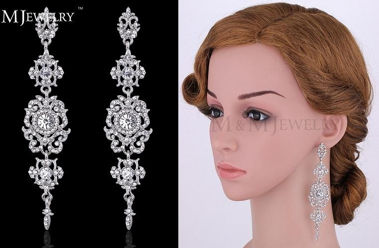 Floral Silver Long Earrings