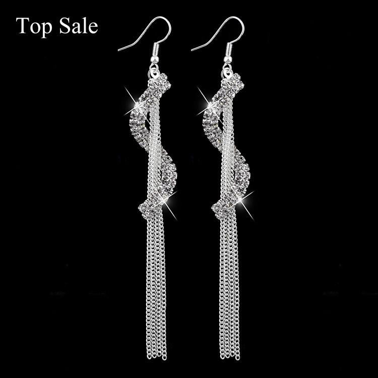 S-Shape Long Drop Luxury Vintage Austrian Crystal Tassel Earrings