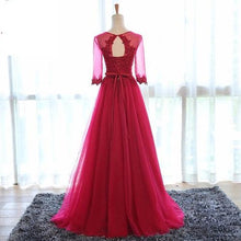 Load image into Gallery viewer, G104, Wine Sleeves Gown, Size (XS-30 to XL-40)