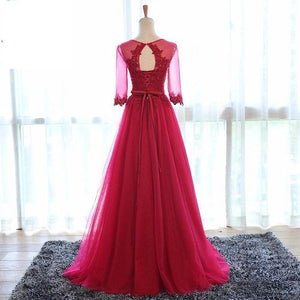 G104, Wine Sleeves Gown, Size (XS-30 to XL-40)