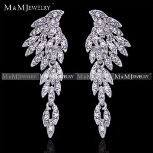 Eagle Silver Crystal Bridal Drop Long Earrings with Stones