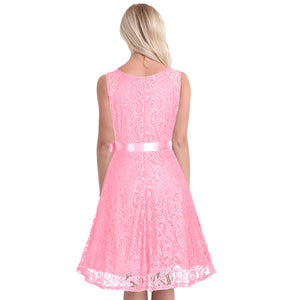 V Neck Floral Lace Knee-Length Cocktail Party Dress,Size (XS-30 to L-38)