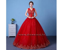 Load image into Gallery viewer, G160 Red Bottom Lace Ball Gown, Size (XS-30 to XXXL-44)