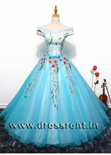 Load image into Gallery viewer, G150, Sky Blue Floral Ball Gown, Size (XS-30 to L-36)
