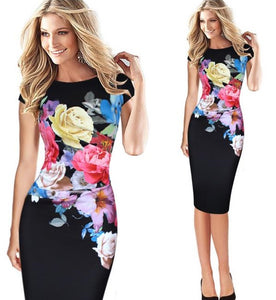 Flower Printed Short Sleeve O-Neck Party Dress