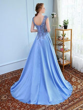 Load image into Gallery viewer, Sky Blue Satin Flower Prom Trail Gown, Size (XS-30 to XXXL-46), G2
