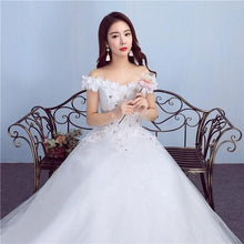 Load image into Gallery viewer, W171, White Off-Shoulder Flower Trail Wedding Gown, Size (XS-30 to L-38)