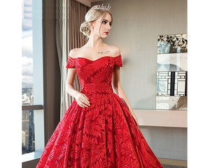 G226,(3) Red Luxury Feather Pattern Off-Shoulder Prewedding Extra Long Trail Gown, Size, (XS-30 to XL-40)