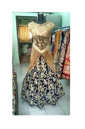 L60, Blue Embroidery Lehenga with Golden, Size (XS-30 to XXL-42)