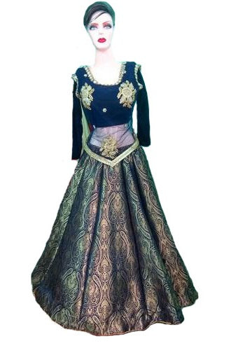 Indo-western Style Brocade Lehenga, Size (XS-30 to XL-40), L45,