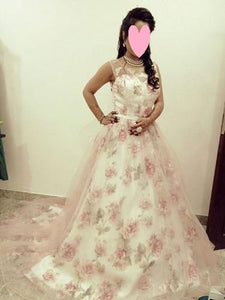 G124, Light Pink Floral Ball Gown with Trail, Size (XS-30 to XXXL-46)