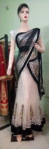 Black & White Ready to Wear Saree, Size (XS-30 to L-38), L65,