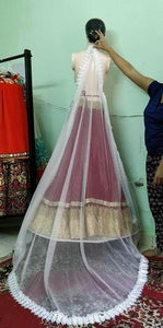 Long embroidery Veil