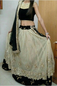 L70, Golden and Black Lehenga, Size (XS-30 to XL-40)