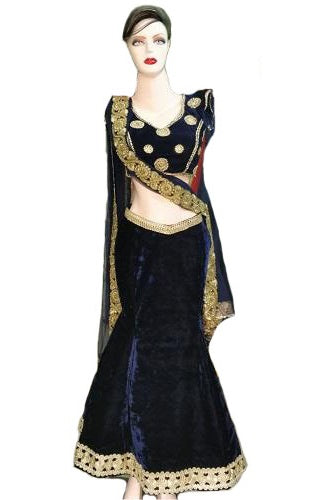 L22,Fishcut Blue Velvet Lehenga, Size (XS-30 to XL-40)