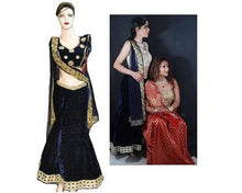 Load image into Gallery viewer, L22,Fishcut Blue Velvet Lehenga, Size (XS-30 to XL-40)