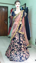 Load image into Gallery viewer, Navy Blue Floral Embroidered Lehenga, Size (XS-30 to XXL-40), L27