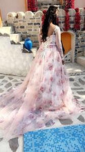Load image into Gallery viewer, G124, Light Pink Floral Ball Gown with Trail, Size (XS-30 to XXXL-46)