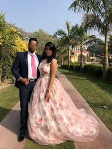 G210 (7), Light Pink Floral Ball Gown with Trail, Size (XS-30 to XXXL-46)