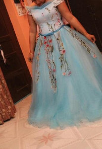 G150, Sky Blue Floral Ball Gown, Size (XS-30 to L-36)