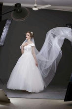 Load image into Gallery viewer, W151, White Off-Shoulder Veil Princess Trail Wedding Gown, Size (XS-30 to XL-40)