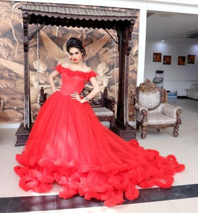 G137, Luxury Red Puffy Cloud Trail Ball Gown, Size (XS-30 to L-38)