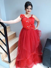 Load image into Gallery viewer, G158, Red Ball Gown One Shoulder, Size (XS-30 to L-38)
