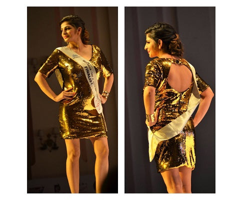 Golden Short Dress, Size (XS-30 to L-36)