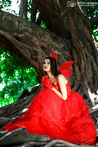 G158, Red Ball Gown One Shoulder, Size (XS-30 to L-38)