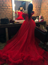 Load image into Gallery viewer, G137 (9), Luxury Red Puffy Cloud Trail Ball Gown, Size (XS-30 to xl 42)