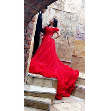 Load image into Gallery viewer, G137, Luxury Red Puffy Cloud Trail Ball Gown, Size (XS-30 to L-38)