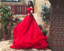 Load image into Gallery viewer, G123, Luxury Wine Puffy Cloud Trail Big Ball Gown, Size (XS-30 to L-38)