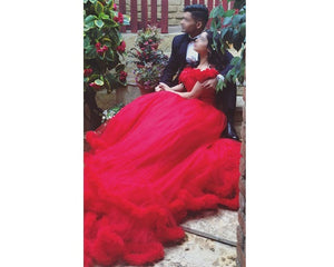 G137, Red Puffy Cloud Trail Ball Gown, Size (XS-30 to L-38)