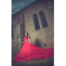 Load image into Gallery viewer, G137 (9), Luxury Red Puffy Cloud Trail Ball Gown,  Size - (XS-30 to XXL-44)