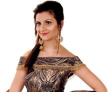 Load image into Gallery viewer, Brocade Crop Top Off Shoulder Lehenga, Size (XS-30 to L-38), L3