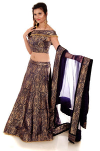 Brocade Crop Top Off Shoulder Lehenga, Size (XS-30 to L-38), L3