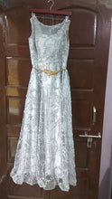 Load image into Gallery viewer, G81, Silver Long Lace Elegant Evening Dress, Size (XS-30 to L-38)
