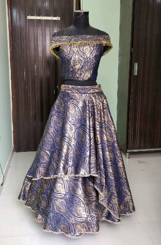 L73, Brocade Layered Lehenga, Size (XS-30 to XL-42)