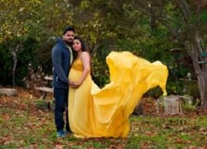 G178, Yellow prewedding Shoot Long Trail Gown, Size (XS-30 to XXL-40)