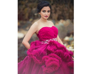 G148, Wine Off-Shoulder Cloud Trail Ball Gown, Size (XS-30 toL-38)