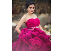 Load image into Gallery viewer, G148, Wine Off-Shoulder Cloud Trail Ball Gown, Size (XS-30 toL-38)