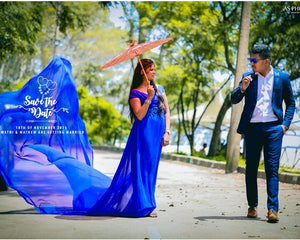 G200 (2), Royal Blue Long Trail Prewedding Shoot Gown, Size - (XS-30 to XXL-44)