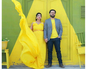G178,(2) Yellow prewedding Shoot Long Trail Gown, Size (XS-30 to XXL-40)