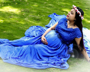 G400, Royal Blue Satin Long Trail Maternity Shoot Gown, Size - (XS-30 to XL-42)